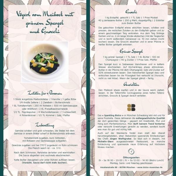 """Recipe Card """"Vögerl"""" by Restaurant Sparkling Bistro in Munich"""