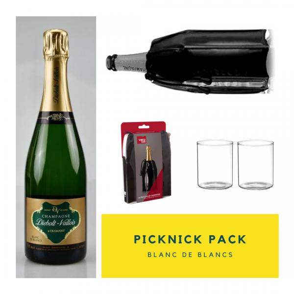 Picknick Pack Blanc de Blancs mit Kühlmanschette & Gläsern
