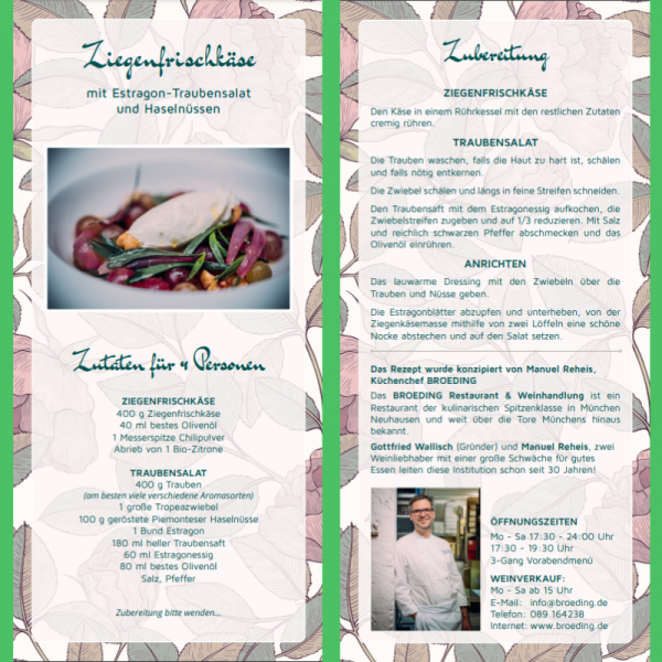 Recipe Card Goat Cheese by Restaurant Broeding