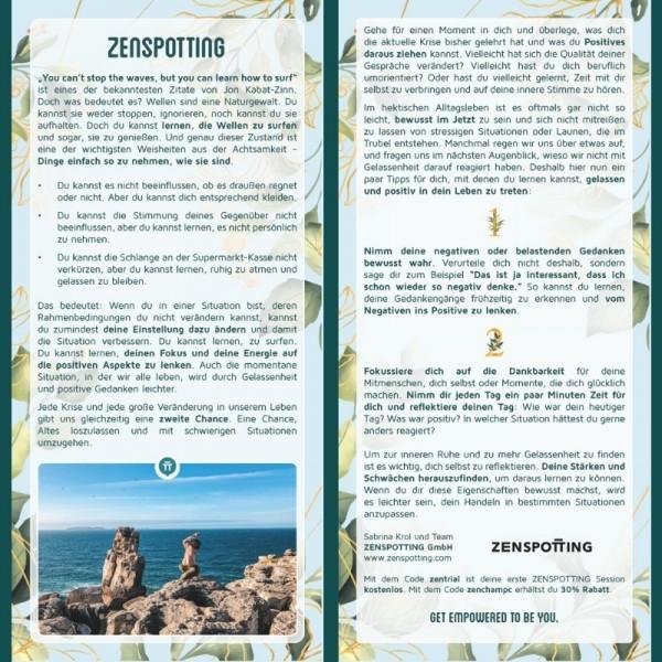 """Inspirationskarte """"Zenspotting"""""""