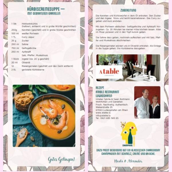 Rezeptkarte Kürbissuppe mit Garnelen